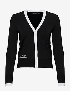 Color-Blocked Jersey Cardigan Sweater - cardigans - black/white
