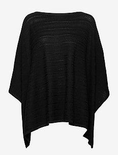 Herringbone Poncho - ponchos & capes - polo black