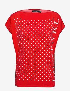 Polka-Dot Logo Jersey Top - blouses met korte mouwen - bright hibiscus/