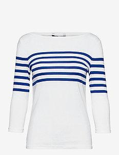 Striped Cotton Boatneck Top - langærmede toppe - white/ sapphire s