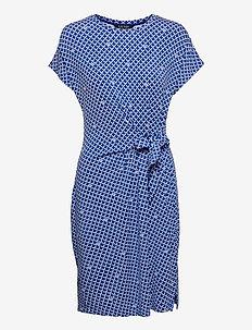 Logo Tie-Front Jersey Dress - sommerkjoler - sapphire star/ wh