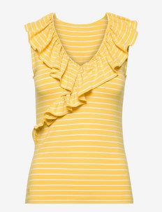 Striped Jersey Sleeveless Top - Ærmeløse toppe - lemon rind/white