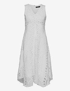 Battenberg Lace Cotton Voile Dress - sommerkjoler - white