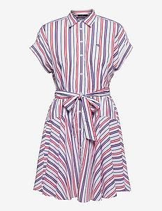 Striped Cotton Broadcloth Shirtdress - sommerkjoler - red/blue/white mu