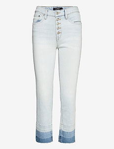 High-Rise Straight Ankle Jean - slim jeans - paradise blue was