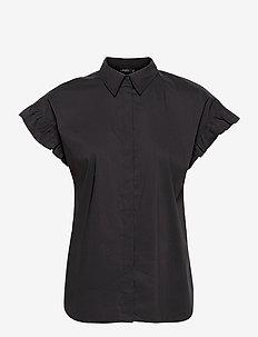 Cotton-Blend Short-Sleeve Shirt - overhemden met korte mouwen - polo black