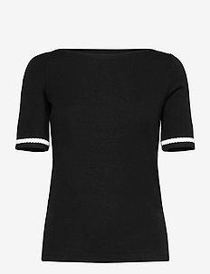 Stretch Cotton Boatneck Tee - strikkede toppe - polo black