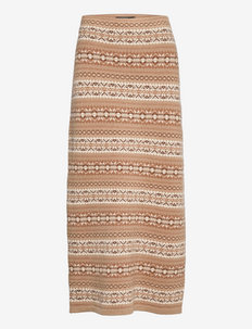 Fair Isle Wool-Blend Pencil Skirt - midi kjolar - camel multi