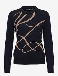 Logo Cotton-Blend Sweater - truien - lauren navy/gold