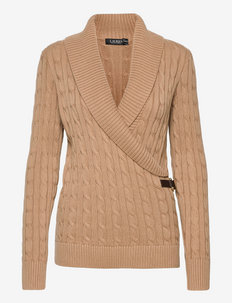 Cable-Knit Buckle-Trim Sweater - truien - classic camel