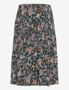Ascot-Print Pleated Georgette Midi Skirt - midi kjolar - deep pine multi