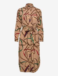 Belting-Print Crepe Shirtdress - skjortekjoler - classic camel mul