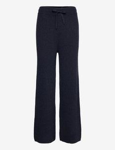 Washable Cashmere Wide-Leg Pant - uitlopende broeken - lauren navy