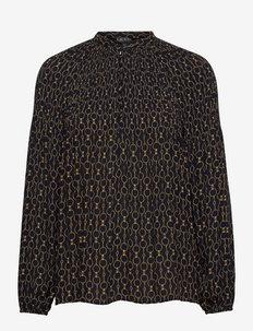 Chain-Print Pleated Georgette Blouse - blouses met lange mouwen - lauren navy multi