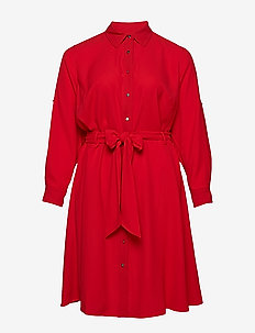 Plus Size Georgette Shirtdress - CRIMSON