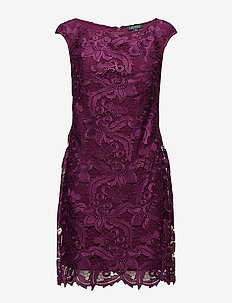 Scalloped-Lace Dress - EXOTIC RUBY
