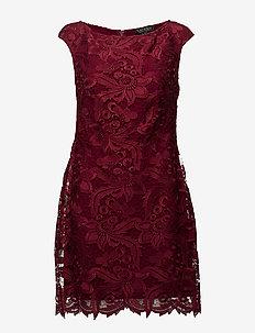 Scalloped-Lace Dress - VIBRANT GARNET