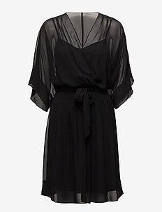 Georgette Surplice Dress - BLACK