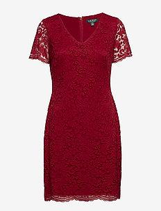 Scalloped Lace Dress - VIBRANT GARNET