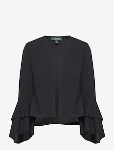 Bell-Sleeve Jersey Cardigan - BLACK