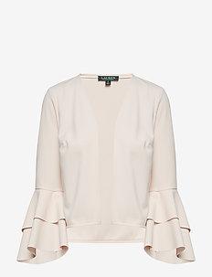 Bell-Sleeve Jersey Cardigan - ROSE MIST