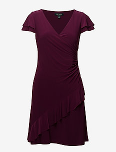 Jersey Surplice Dress - EXOTIC RUBY