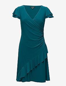 Jersey Surplice Dress - MERIDIAN JADE