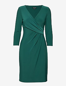 Surplice Jersey Dress - LUSH EMERALD