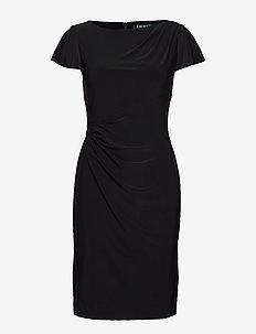 Jersey Flutter-Sleeve Dress - BLACK