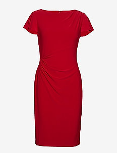 Jersey Flutter-Sleeve Dress - PARLOR RED