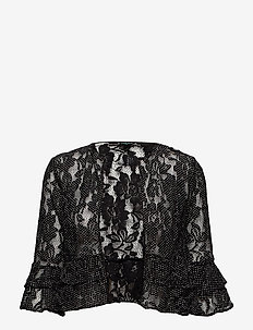 Polka-Dot Lace Cropped Cardigan - BLACK/WHITE