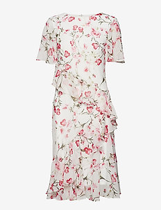 Floral Ruffled Georgette Dress - COLONIAL CREAM/PI