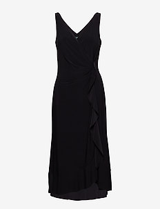 Ruffle-Trim Ruched Dress - BLACK