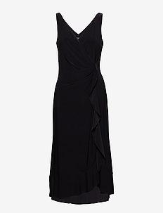 Ruffle-Trim Ruched Dress - BLACK