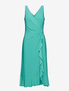 Ruffle-Trim Ruched Dress - DEEP AQUA