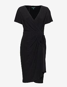 Faux-Tie Jersey Dress - BLACK