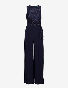 Lace Wide-Leg Jumpsuit - LIGHTHOUSE NAVY