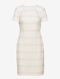 Striped Lace Dress - blondekjoler - lauren white/cash