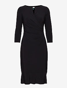 Keyhole Jersey Dress - BLACK
