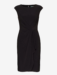 Ruched Cap-Sleeve Dress - BLACK