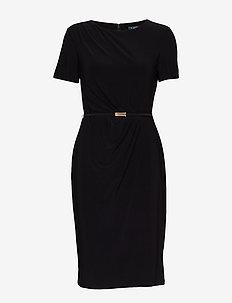Belted Short-Sleeve Dress - BLACK