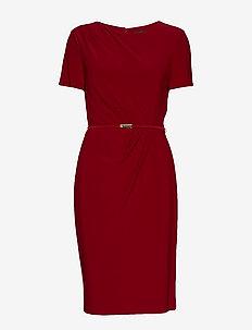 Belted Short-Sleeve Dress - VIBRANT GARNET