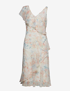 Floral Georgette Dress - COL CREAM/ORANGE/