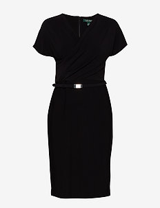 BONDED MJ-DRESS W/ BELT - BLACK