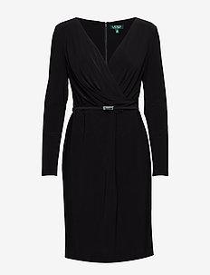 BONDED MJ-DRESS W/ BELT - BLACK