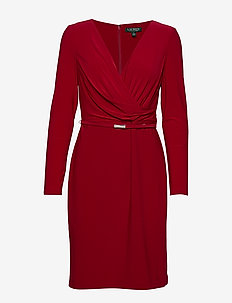 BONDED MJ-DRESS W/ BELT - SCARLET RED