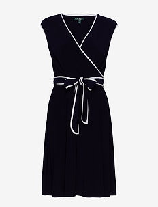Two-Tone Belted Jersey Dress - LIGHTHOUSE NAVY/L
