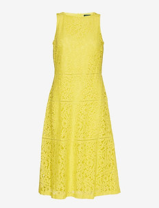 Lace Fit-and-Flare Dress - pitsimekot - luxe chartreuse