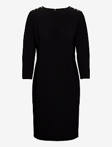 BONDED MJ-DRESS W/ TRIM - midi kjoler - black