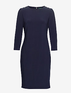 BONDED MJ-DRESS W/ TRIM - robes midi - lighthouse navy
